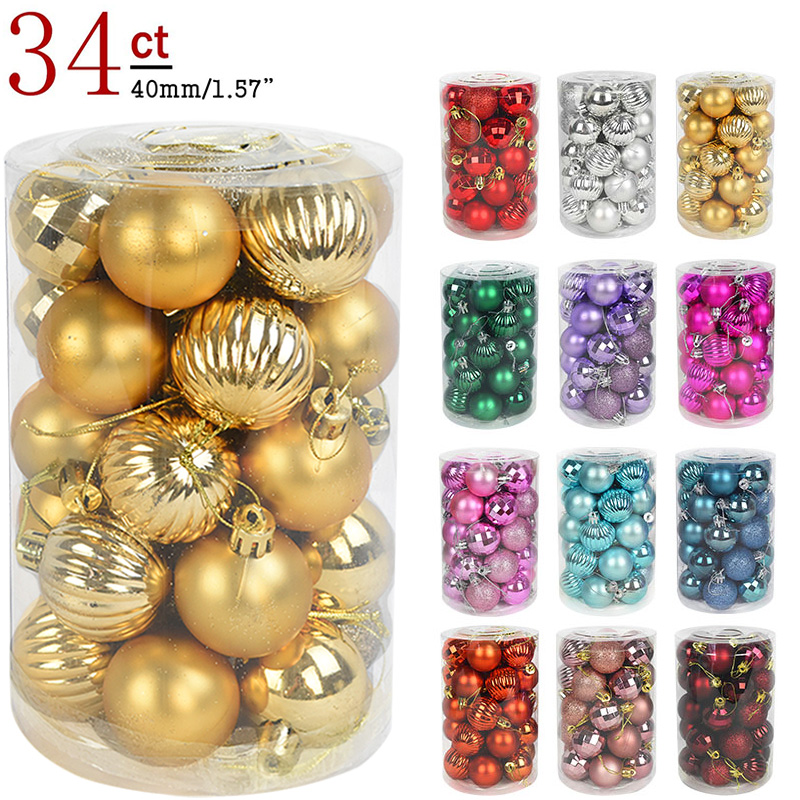 34pcs 4cm Christmas Tree Decorations Balls Bauble Xmas Party Hanging Ball Ornaments Christmas Decorations for Home New Year Gift