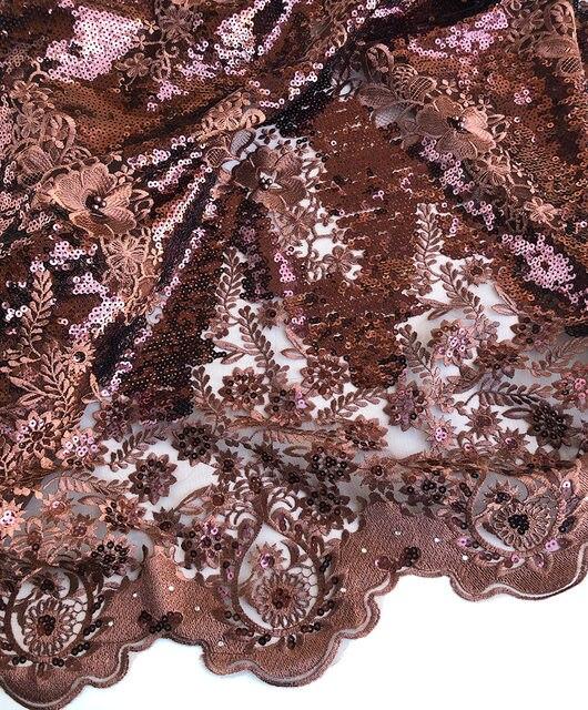 Простые кофейные 5 ярдов очень мягкие блестящие африканские французские кружева Корея ткань высшего класса в нигерийском Дубае случайные ш...