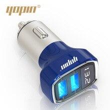 Yopin стиль алюминиевый сплав автомобильное зарядное устройство завод настраиваемый Сияющий цифровой двойной USB Смарт автомобильное зарядное устройство