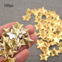 100 Uds oro plata tela Navidad cinco señaló confeti de estrellas Decoración Para sala de estar casa de vacaciones decoración para fiestas para montar Украшение Партии