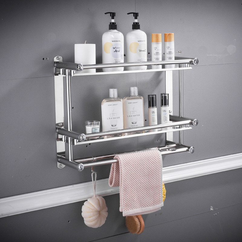 Towel Rack Bathroom Stainless Steel Free Punching Kitchen Shelf Three-story Bathroom Toilet Hook Wall Hanging
