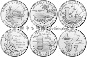 United States 2009 25 Cents Overseas Commemorative Coins 6pieces/full Set Unc Real Original Coins Collection(China)