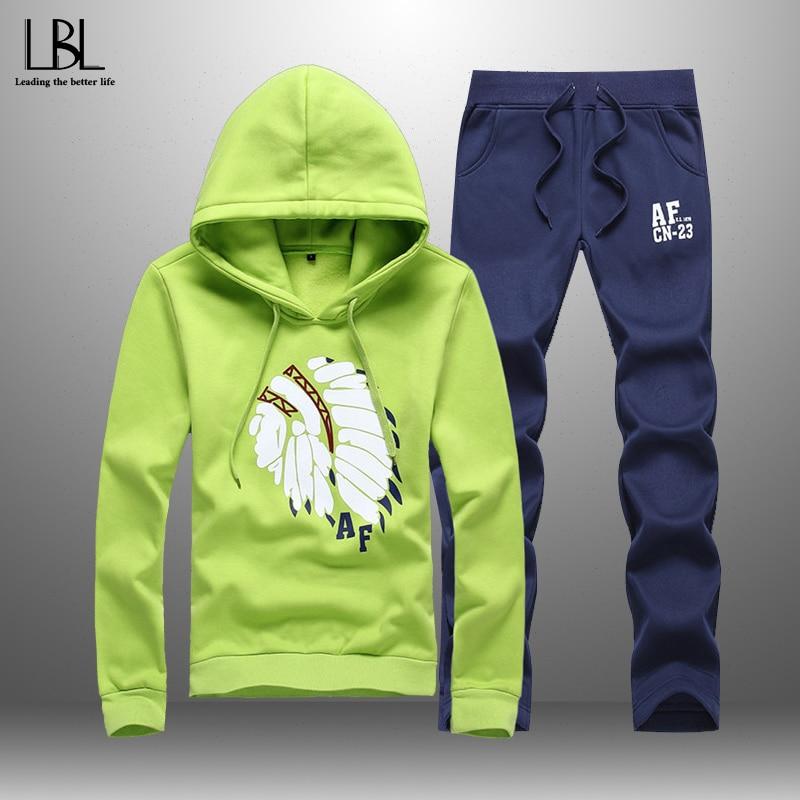 2020 Casual Men's Sportswear Spring Autumn Hooded Suits Men Women Tracksuit 2 Piece Hoodies + Sweatpants Elastic Waist Couple