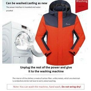 Image 2 - 2019 zimowe kurtki mężczyźni kobiety utrzymać ciepłe parki odkryty inteligentny USB ogrzewanie na podczerwień płaszcz człowiek elektryczny termostat odzież z kapturem