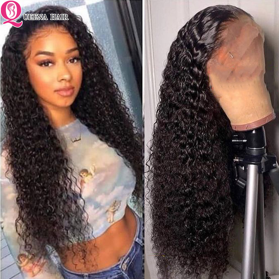 HD Kinky Curly Lace Front Human Hair Wigs 13x4 Transparent Front Lace Wigs Pre Plucked Remy Brazilian Lace Wig  For Black Women