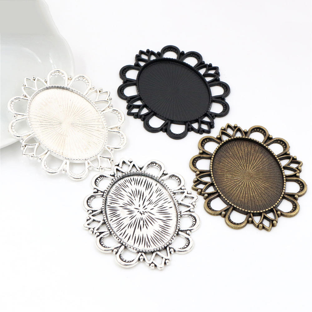 5pcs 30x40mm Inner Size 4 Colors Plated Classic Pierced Style Cabochon Base Setting Charms Pendant Tray