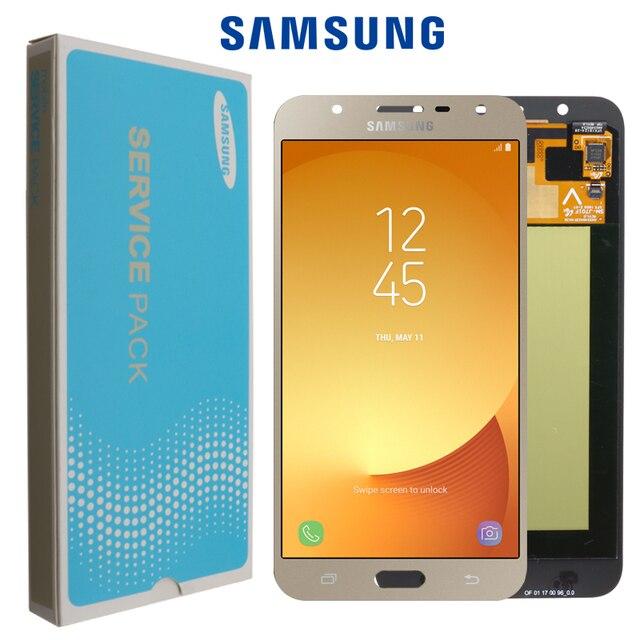 100% orijinal Samsung Galaxy J7 neo J701 J701F J701M AMOLED LCD ekran dokunmatik Digitizer ekran parlaklık ayarı