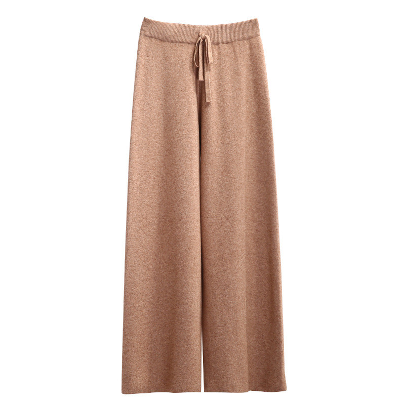 Autumn Winter Women Knitted Trousers High Waist Straight Loose Wide Leg Pants Female Thick Warm Drawstring Waist Striped Pant