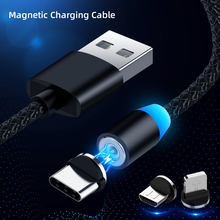 Magnetic USB C Micro USB Cable for Huawei P20 LED Type C Magnet Charger Micro USB Data Cable Nylon Wire Cord for Xiaomi Samsung cafele new led magnetic usb cable for iphone micro usb cable usb c magnet charger nylon cabo for samsung xiaomi huawei