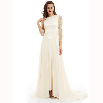 Dressv white scoop neck long evening dress long sleeves lace wedding party formal dress a line evening dresses ladylike style solid color scoop neck lace long sleeves slimming burnt out dress for women