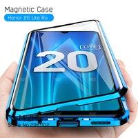 جراب زجاجي مزدوج الجوانب 360 على هاتف Honor 20 Lite جراب خلفي معدني 2020 مغناطيسي لهاتف Huawei Honor 20 Light 20 Lite Coque 6.15