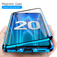 360 Double Sided Glass Case On Honor 20 Lite Case 2020 Magnetic Metal Back Cover For Huawei Honor 20 Light 20Lite Coque 6.15|Flip Cases|   -