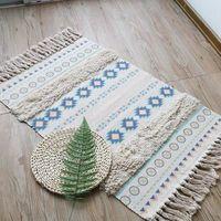 Retro boho algodão linho tassel tecido tapete tapete porta do quarto tapeçaria decorativa cobertor chá sala de estar tapete área|Tapete|   -