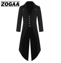 Mens Gothic Tailcoat Jacket Steampunk Trench Cosplay Costume Victorian Coat Black Long Coat Men's Tuxedo Suit Halloween Party supernatural castiel twill trench coat suit set coplay costume