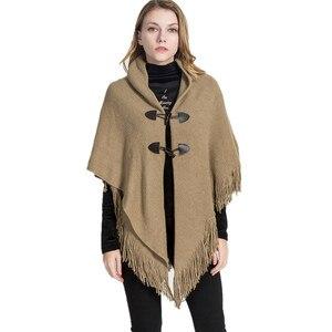 Image 1 - 2019 新デザイン冬暖かい固体ポンチョやケープ女性特大ショールラップカシミアパシュミナ女性 Bufanda