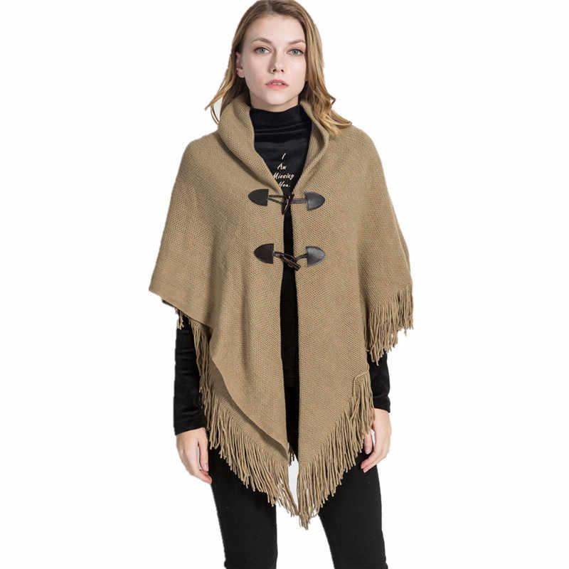 2019 Nuovo Disegno di Inverno Caldo Solido Poncho E Mantelle Per Le Donne di Grandi Dimensioni Scialli Avvolge Cachemire di Pashmina Femminile Bufanda