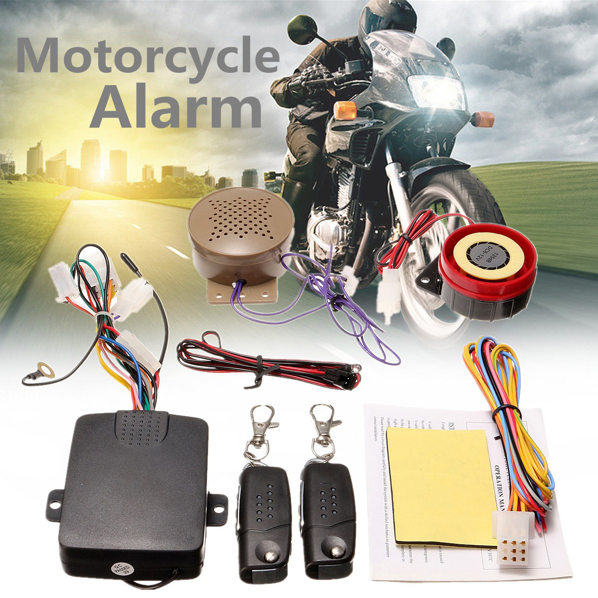200M Motorcycle Alarm System Lock 2 Remote Controllers Talkin Voice Moto Bike Scooter Anti-theft Security Alarm Horn Speaker