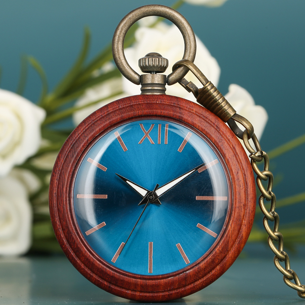 Retro Blu-ray Surface Dial Red Sandalwood Case Pocket Watch Men Exquisite Bronze Rough Chain Women Necklace Zuster Klokje