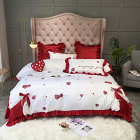 Luxury pure satin silk cotton Bedding Set Strawberry embroidery Princess Queen King Size Bed set Duvet Cover Bed Sheet Bed linen