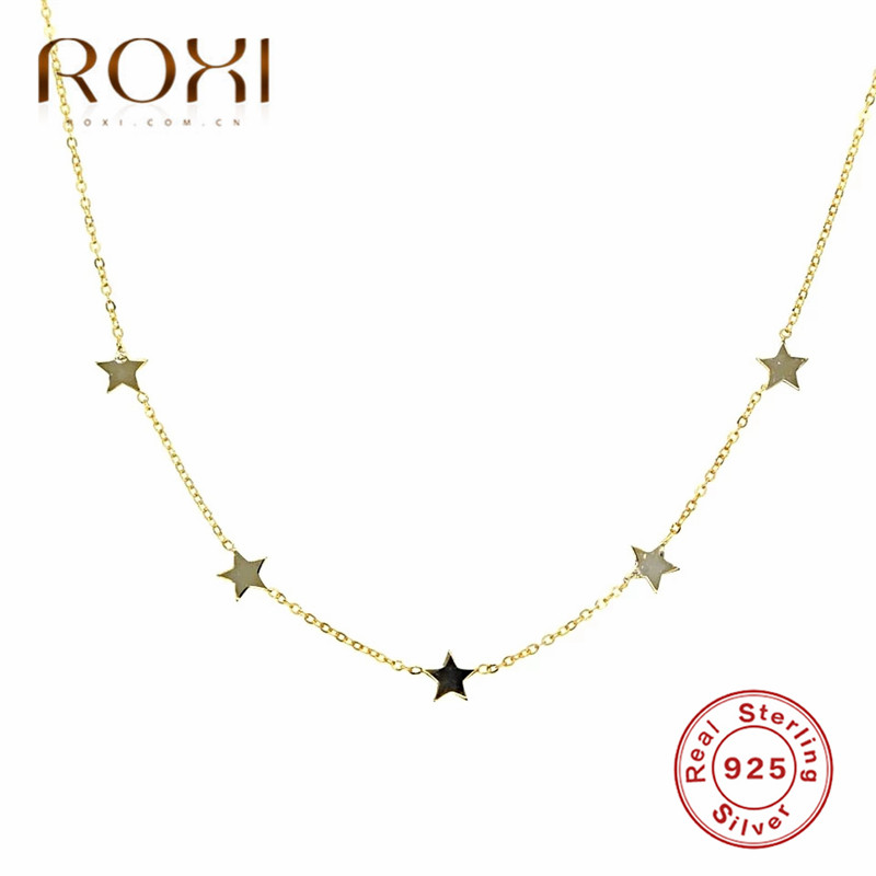 ROXI 925 Sterling Silver Star Charms Chokers Necklaces for Women Choker Collares Fashion Jewelry Boho Tiny Star Pendant Necklace