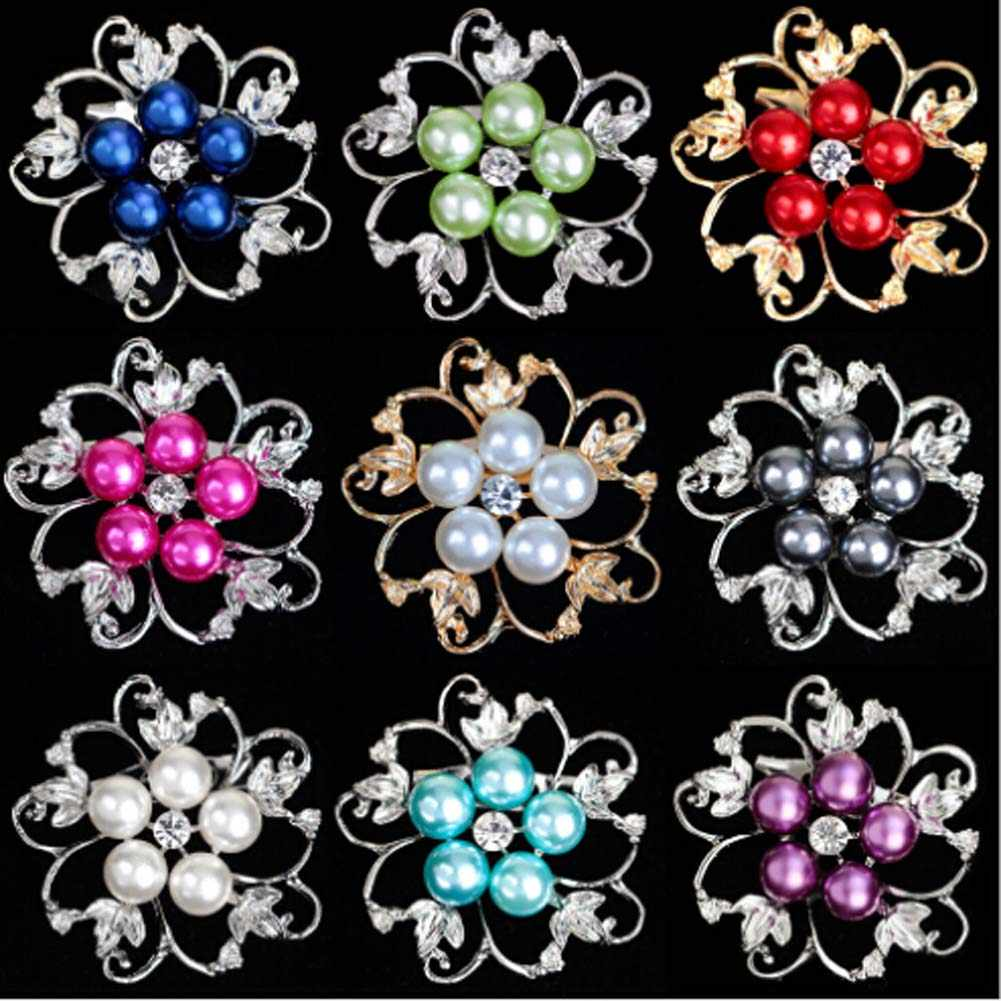 A forma di fiore Brillante Bella CZ del rhinestone della sfera Della Perla di faux beads Spilla Bouquet per la cerimonia nuziale delle donne Spille perni di capelli accessori