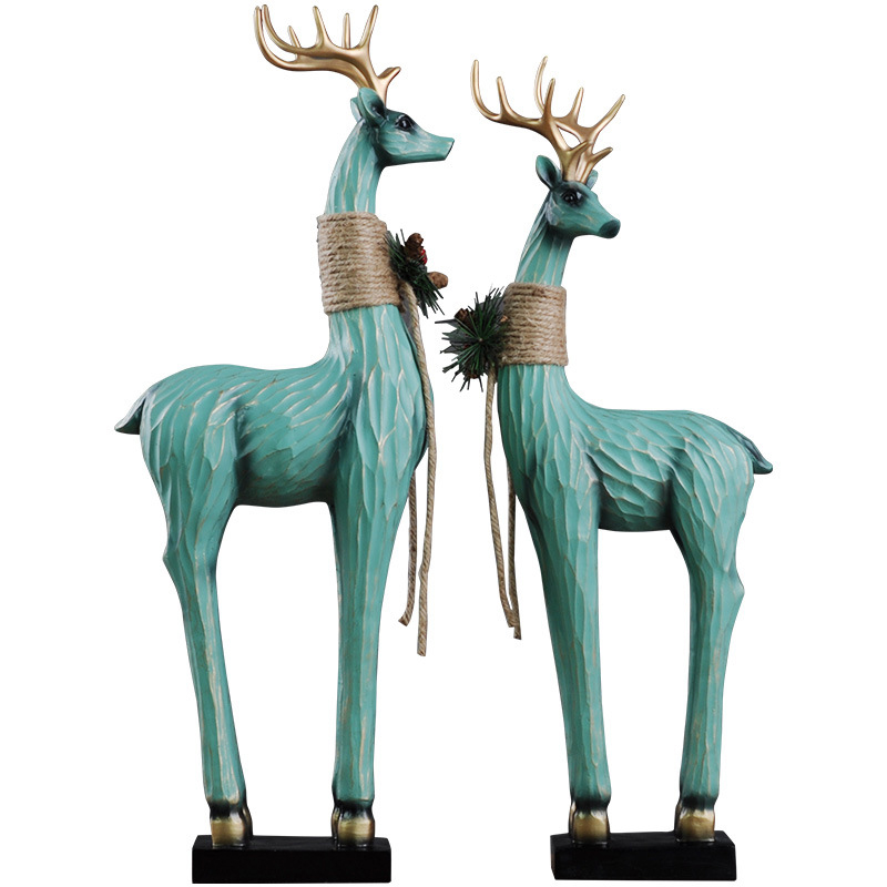 Nordique amoureux cerf Miniature modèle maison décoration artisanat exquis résine ornements bureau bureau décor mariage accessoires cadeaux