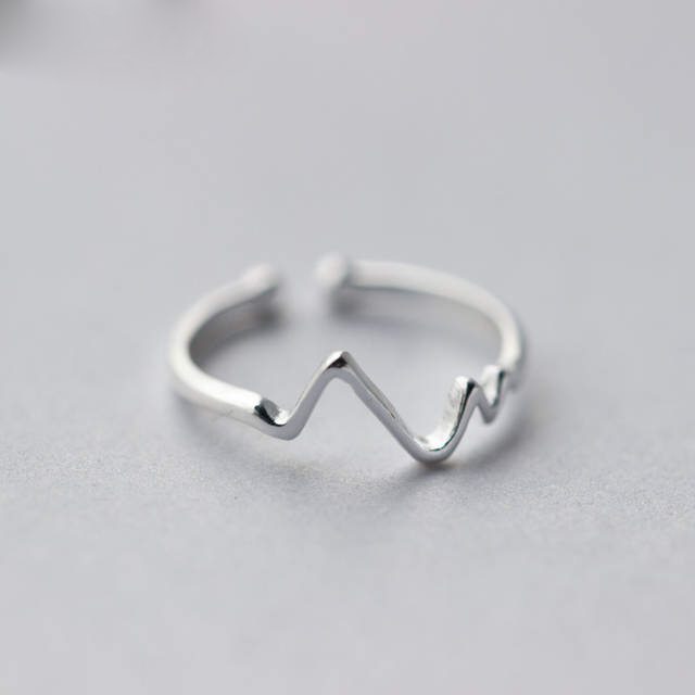 100% Real 925 Sterling Silver Heartbeat Rings For Women Adjustable Size Wedding Ring Hot Jewelry