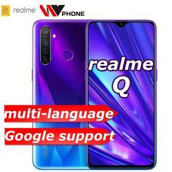 Realme Q 4GB RAM 64GB ROM 6,3 zoll Moblie Telefon Snapdragon 712AIE Octa Core 48MP Quad Kamera Handy OPPO VOOC 20W Schnelle Ladegerät