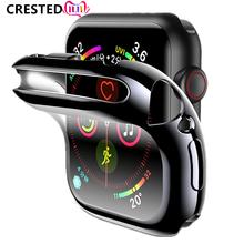 Pokrywy skrzynka dla pasek do Apple Watch 44mm 40mm apple watch 5 4 3 zespół 42mm 38mm iwatch ochraniacz ekranu silikon ochronny zderzak tanie tanio CRESTED Z tworzywa sztucznego Zegarek Przypadki 44mm 42mm 40mm 38mm watch case