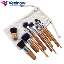 цена на 11Pcs Makeup Brushes Set Professional Bamboo Handle Brush Premium Goat Hair Foundation Blush Soft Brushes Kit