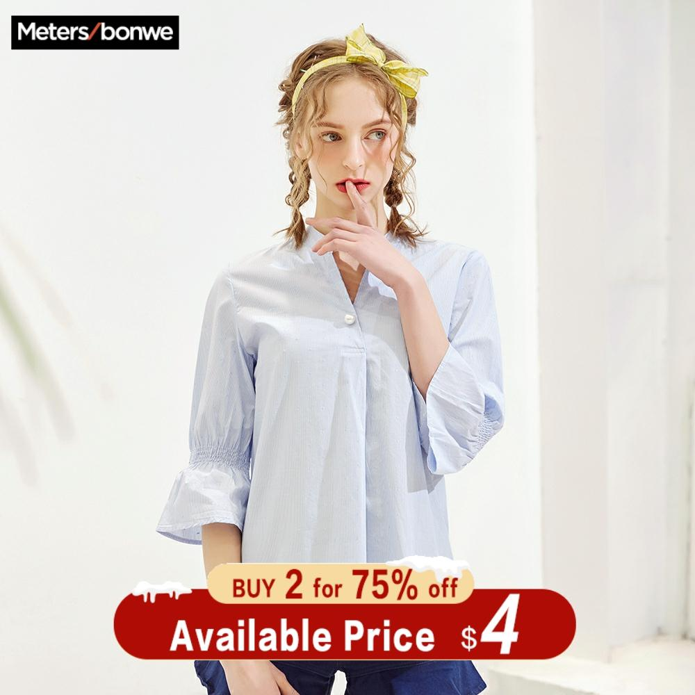 Metersbonwe Women Blouses 2019 New Fashion Half Sleeves Loose Sweet Girls Student Official Blouse Shirt Casual Tops