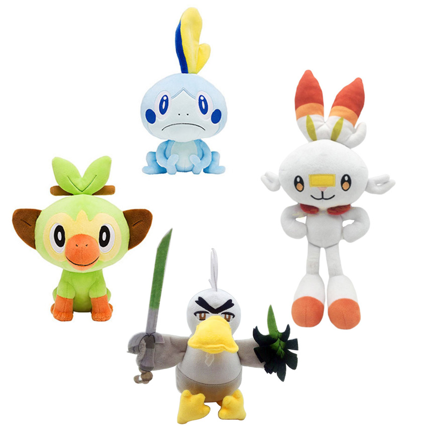 Pokemon Plush Sobble Scorbunny Grookey Cartoon Elf Figure Plush Soft Stuffed Collection Toys For Children Christmas Gift