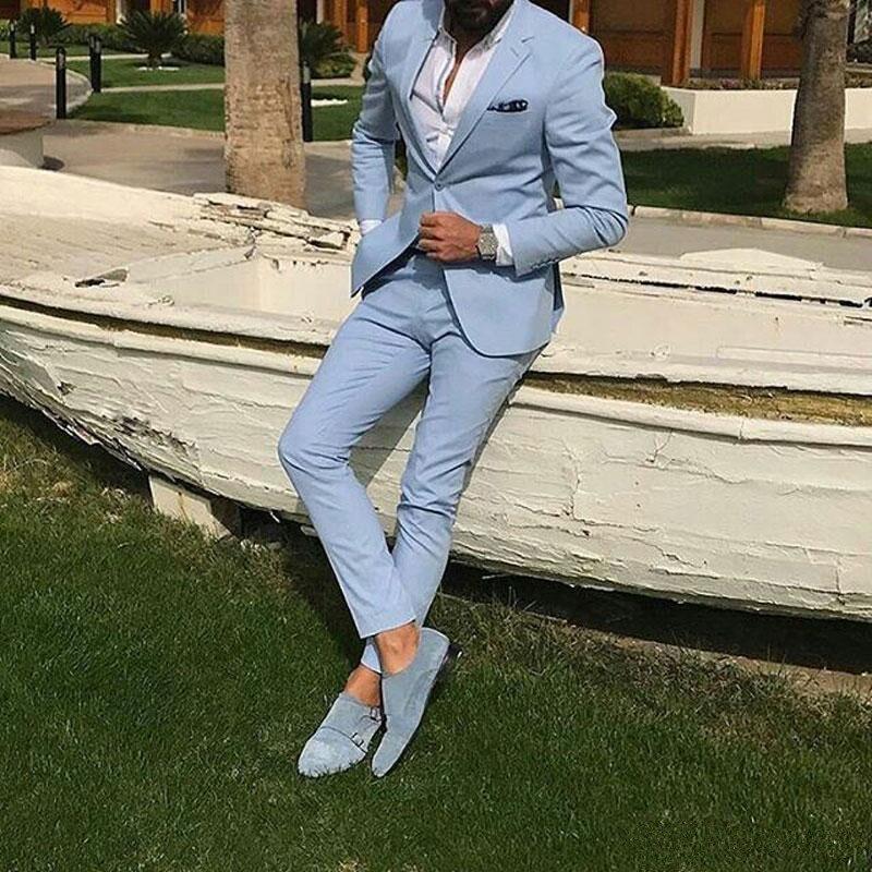 06Summer Light Blue Men Suits Wedding Suits Groom Wear Tuxedos Blazer Jacket 2Piece Coat Pants Slim Fit Formal Best Man Costume Evening Party