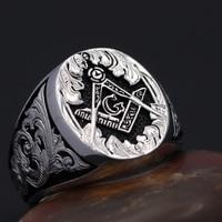 Masonic Signet Hand engraved Master Mason Symbol G Templar Freemasonry Sterling Silver Ring