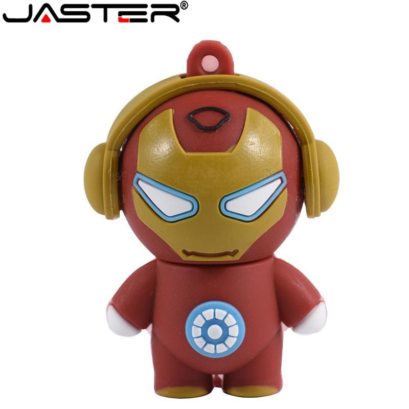 JASTER New Cartoon Super Hero USB Flash Drive 4GB 8GB 16GB 32GB 64GB Iron Man Flash Memory Pen Drive 128GB Pen Drives