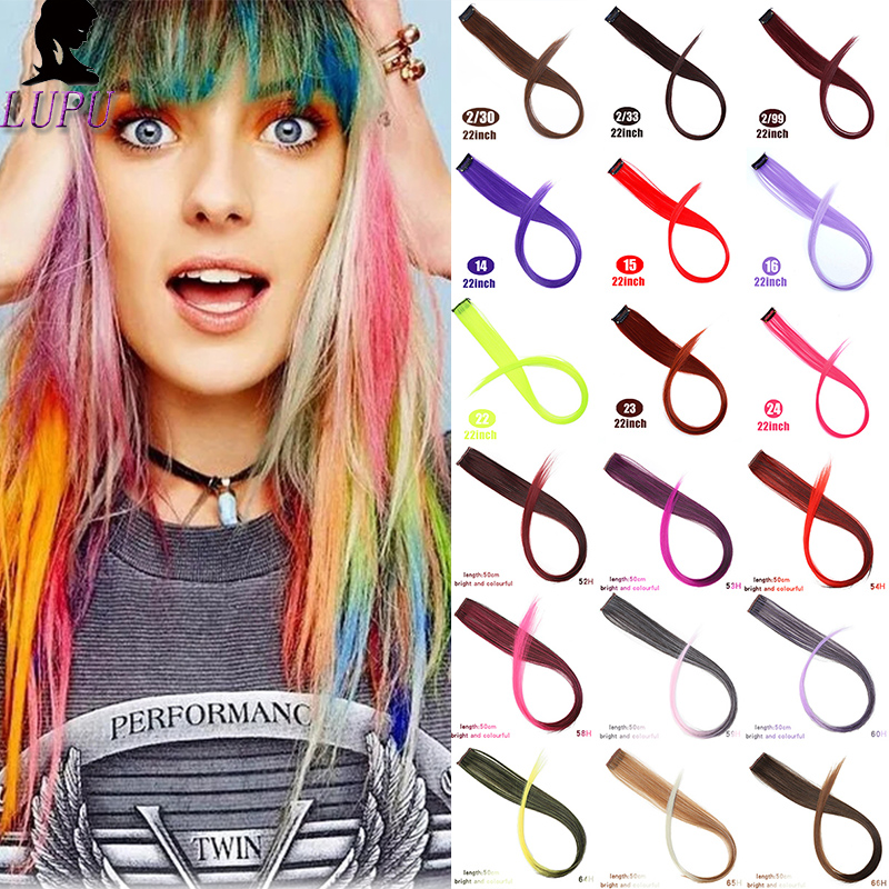 LUPU Long Straight Colored Hair Extensions For Women Single Clip In Hair Streak Stand Rainbow Hairpieces Hair Accessories