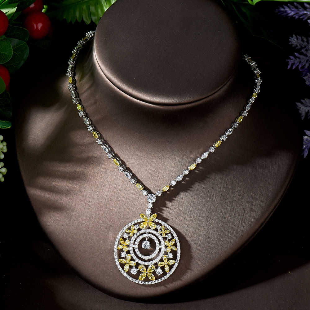 HIBRIDE עגול זרוק צהוב חתונה כלה CZ שרשרת ועגילי תכשיטי סטי יוקרה דובאי תכשיטי נשים אביזרי N-1251