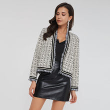 Casual Tweed Jacket Coat Cardigan Women Autumn 2020 Beads Pearl Black Print Tassel Sides Slim Trendy Fashion Winter Short Coats(China)