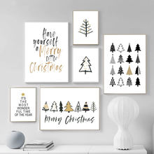 Merry Christmas Quotes Canvas Painting Wall Art Posters And Prints Nordic Wall Pictures for Living Room Home Decor Ornament(China)
