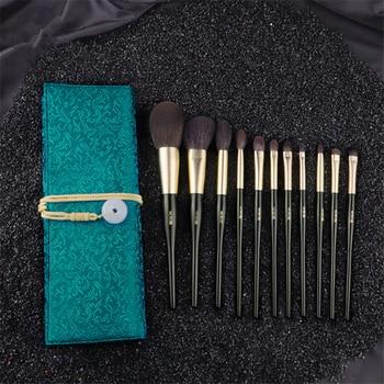 11Pcs Make up Brushes Set Dark Green Goat Squirrel Hair Powder Blush Highlighter Brush Eyeshadow Blending Makeup Brush with Bag