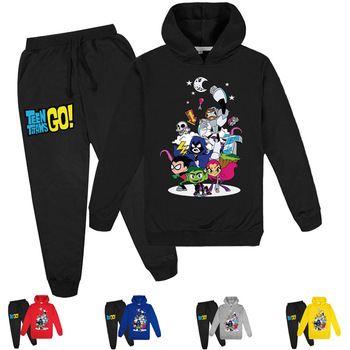 2-16Y Baby Clothing Sets Teen Titans Go Hoodie Tops Pants 2pcs Set Kids Sport Suits Boys Tracksuits Toddler Outfit Girls Outwear bibihou girls clothing set sport suit clothes navy style girls sports suits teenage kids tracksuits sportswear jumpsuit boys
