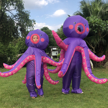 Parent -Kids Purple Octopus Inflatable Costumes Halloween Cosplay Family Party Cosplay Costume Walking Mascot Role Play Disfraz