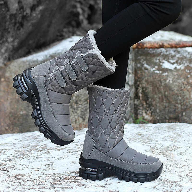 PINSEN 2020 kadın kışlık botlar su geçirmez yüksek kalite sıcak tutmak peluş çizmeler kadın orta buzağı kar botları olmayan kayma botas mujer