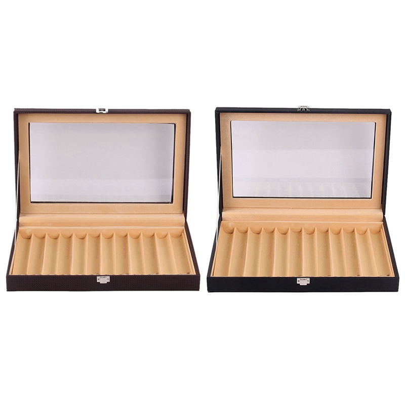 2 Pcs 12 Slots Wooden Fountain Pen Display Case, PU Leather Pen Display Case Jewelry Organizer, Coffee & Black