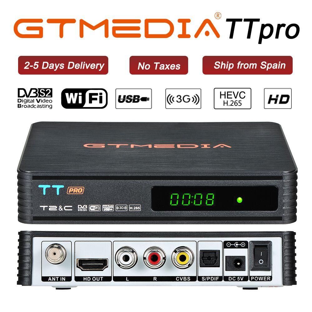 GTmedia TT PRO russie pologne DVB-T2/T DVB-C récepteur H.265 avec 1 an Cccam Support Newcam YouTube USB WIFI décodeur décodeur