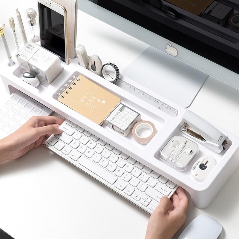 Plastic Office Table Organizer Desk Keyboard Rack Stationery  Storage Holder Computer Home Office Desktop Storage Shlelf