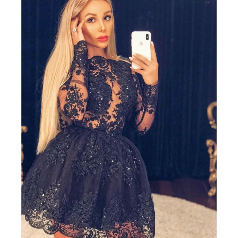 Cocktail     Dresses   Plus Size Black Long Sleeve Short Evening Prom   Dress   2019