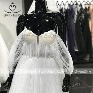Image 5 - Sweetheart ozdobiony paciorkami ślubny sukienka 2 w 1 odpinany Off ramię Ruched Tulle linia Swanskirt D101 suknia ślubna Vestido de novia