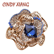 CINDY XIANG Rhinestone Flower Brooches For Women Vintage Hollow-out Pin Crystal Brooch Fashion Winter Design Jewelry Gift chic hollow out flower rhinestoned brooch for women