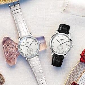 Image 4 - Suisse Montre 2019 marque de luxe amoureux Montre bracelet saphir Vintage Montre en cuir Montre Couple Montre de noël cadeau hommes femmes